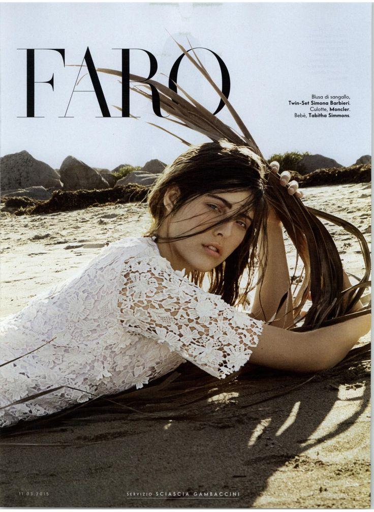 TWIN-SET Simona Barbieri: macramé blouse. Magazine: Vanity Fair 11.03.2015