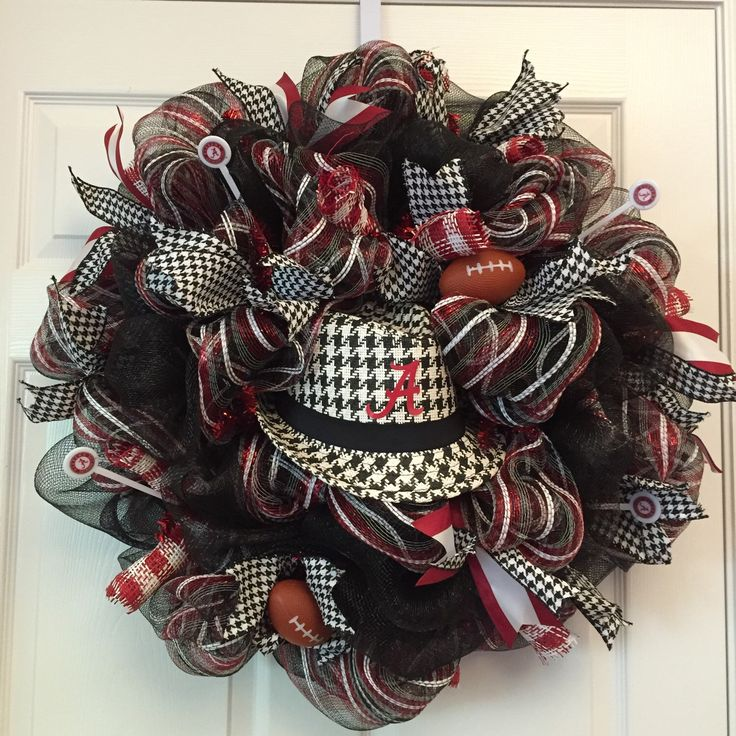 A personal favorite from my Etsy shop https://www.etsy.com/listing/195565789/alabama-houndstooth-fedora-wreath-al