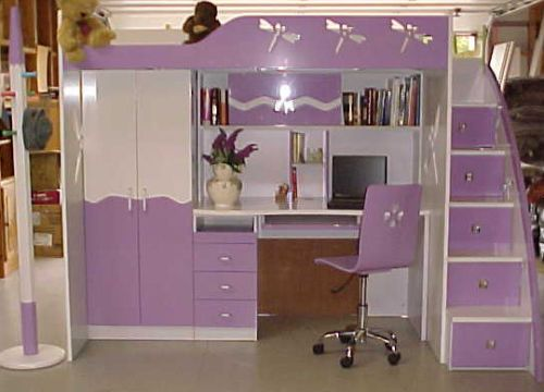 Children S High Sleeper Bed With Integrated Wardrobe Desk