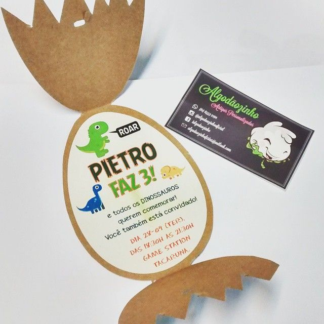 Bom dia com esse lindo convite ovo para uma festa com tema Dinossauros…