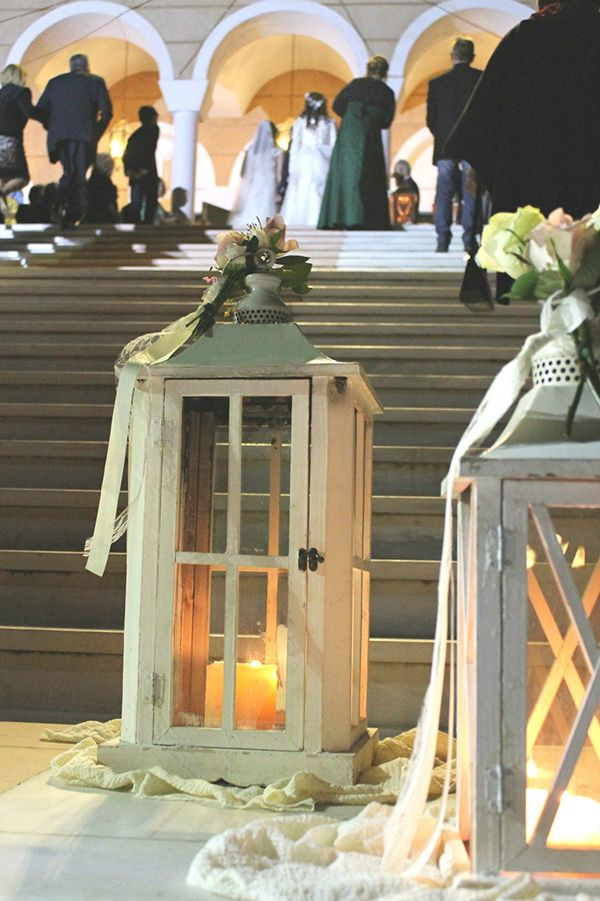 Style Concept #wedding #lanterns and #candlelight outside the #church - EverAfter