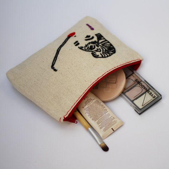 makeup bag / audrey hepburn hand embroidery by NIARMENA on Etsy