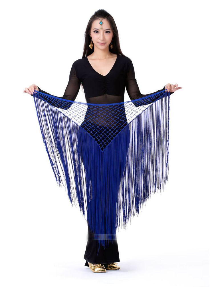 Дамы шарф с треугольная сетка кисточкой обертывание ремень створки индийский танец живота костюм аксессуары t119