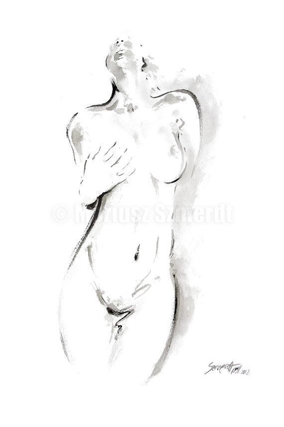 Teen curvy naked woman sketch breasted