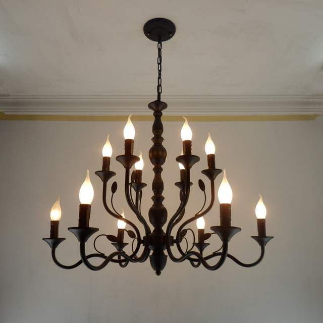 Retro Chandelier Lighting Black Wrought Iron Chandeliers For Dining Room Industrial Vintage Ceiling Cha Iron Chandeliers Retro Chandelier Black Iron Chandelier
