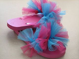Tule Flip-flops so easy and cute for a girl's party.  Have the girl wear flip-flops and leave with them decorated.