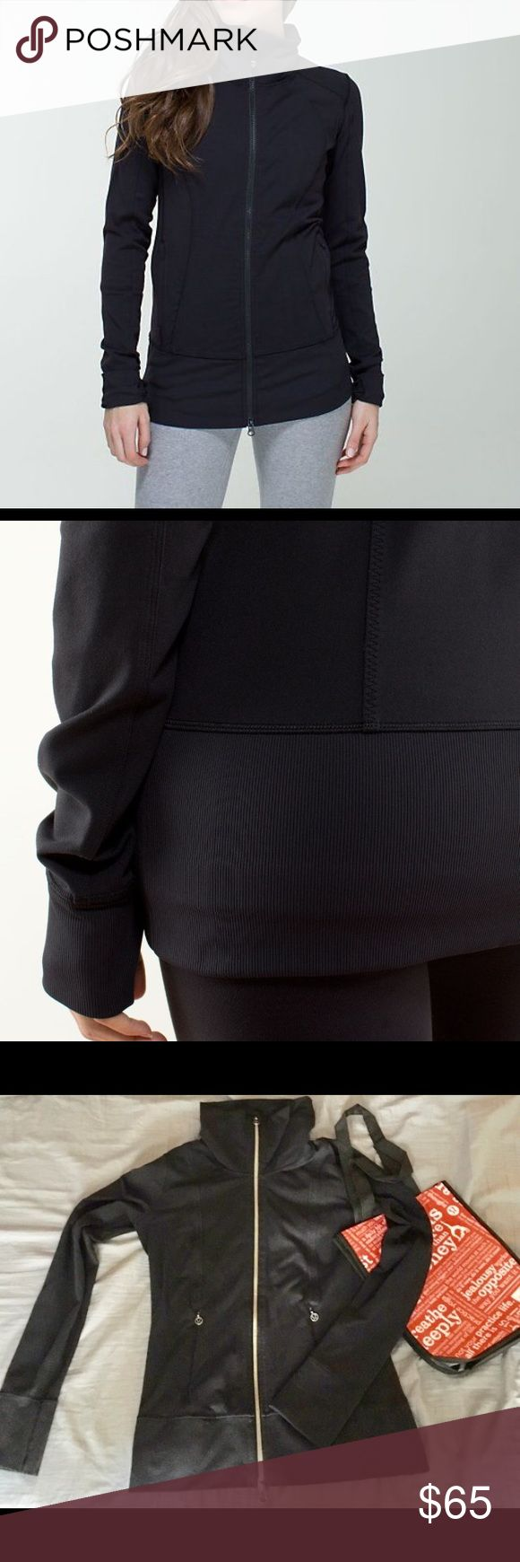 Lululemon Nice Asana Jacket Euc black with thumb holes; stock photos to show detail lululemon athletica Jackets & Coats