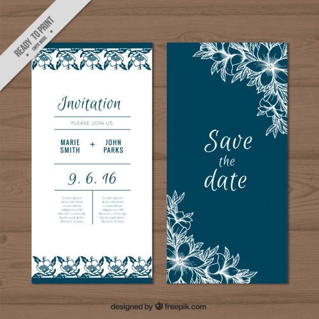 carta di nozze carino con schizzi fiori Vettore gratuito