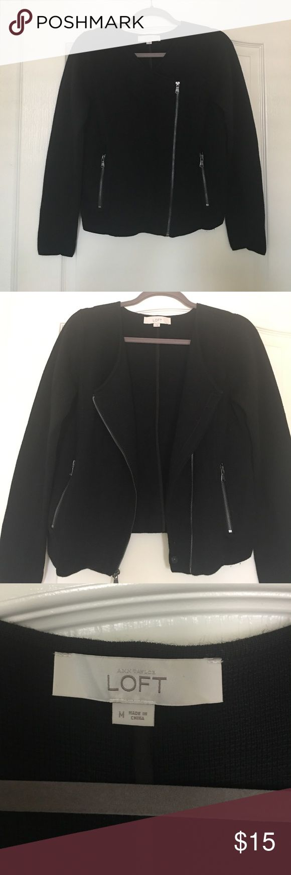 LOFT Knit Moto-Style Sweater-Jacket Love the moto look?  You will love this cute knit, moto-style black sweater-jacket from LOFT.  In GREAT condition. Wear open or zipped up, easy transitional piece that can be easily dressed up or down. 😉 LOFT Jackets & Coats