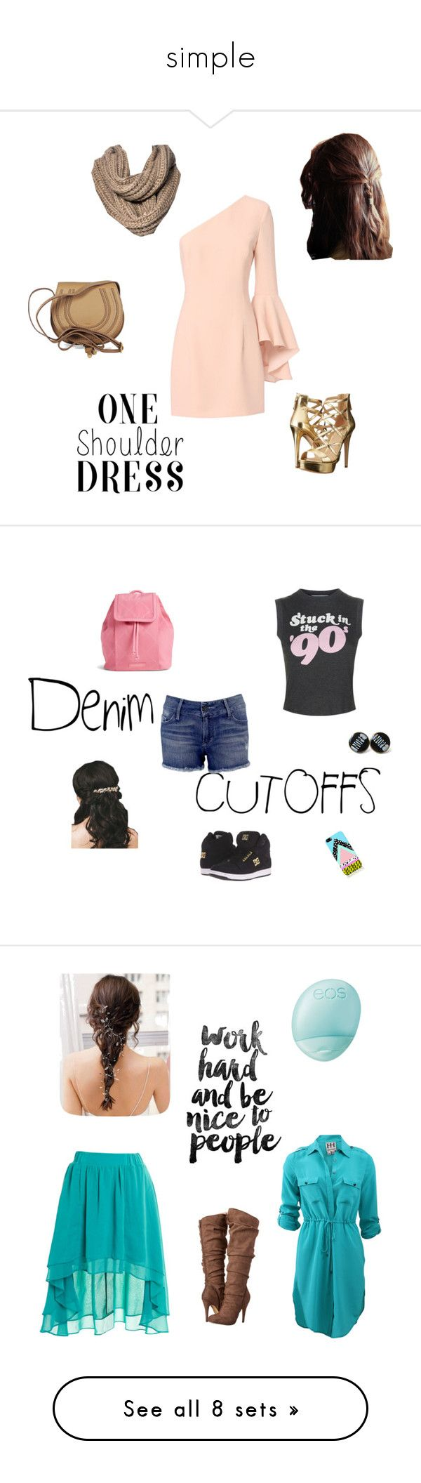"""""""simple"""" by tevy13tya ❤ liked on Polyvore featuring art, jeanshorts, denimshorts, cutoffs, beauty, Staring At Stars, Haute Hippie, Eos and Michael Antonio"""