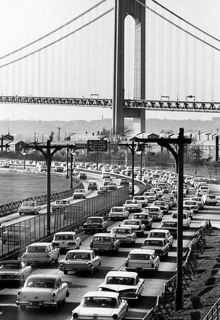Opening weekend of the Verrazano-Narrows Bridge, November 1964. Brooklyn tower of the bridge, seen from the Belt Parkway.