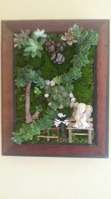 Quadro con succulente Mia creazione, con birbante fatina!