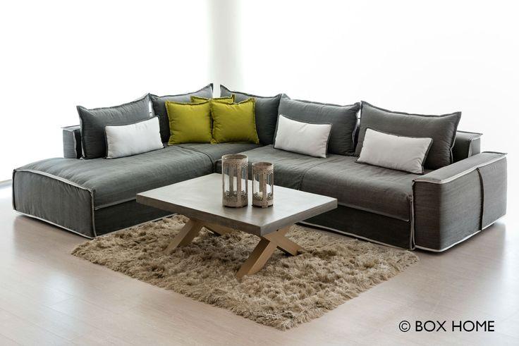 Γωνιακός καναπές BOX & τραπεζάκι σαλονιού Titan  comfort & contemporary style for living room