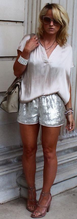 H&m Silver Women's Sequin Shorts   Via ~LadyLuxury~