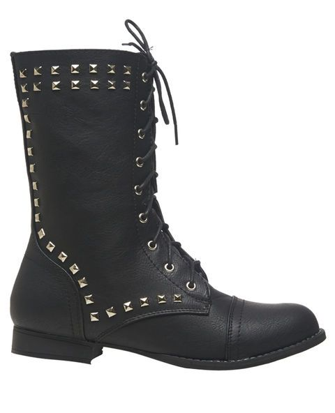 Pyramid Stud Combat Boot - Wet Seal #Boots #Shoes #Studs #Black
