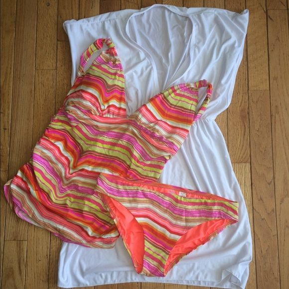 Tankini SALE Orange White and Pink Tankini. Tag says medium. Probably equivalent to 8-10. Light padding in tankini top. White cover up shown in pic is sold separate. Bundle for discount! Echo Swim Bikinis