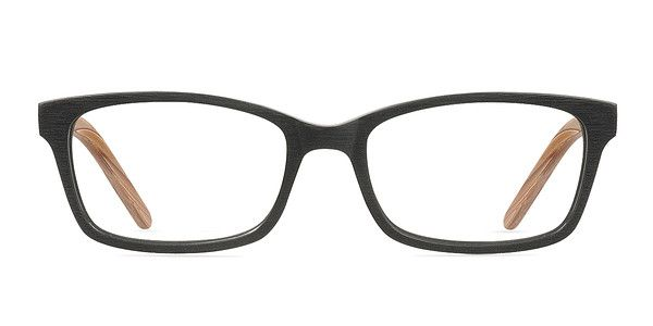 These black eyeglasses are visually interesting and appealing. This two toned full plastic rectangular frame comes with an engraved striated texture throughout. The frame front is a matte black while the temples have a wood grain finish. Spring hinges add flexibility to this earthy look that is universally flattering.  @EyeBuyDirect
