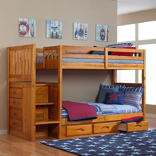 Discovery World Furniture Honey Staircase Mission Bunk Bed Twin/Twin | Cambridge | Viv Rae | Kaitlyn