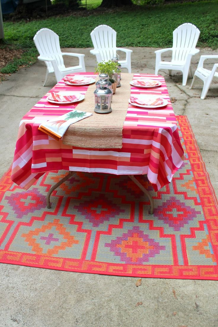 Patio Decoration Using Target Outdoor Rugs: Lantern Tea Lights Holders  Centerpiece With Table Cloth And