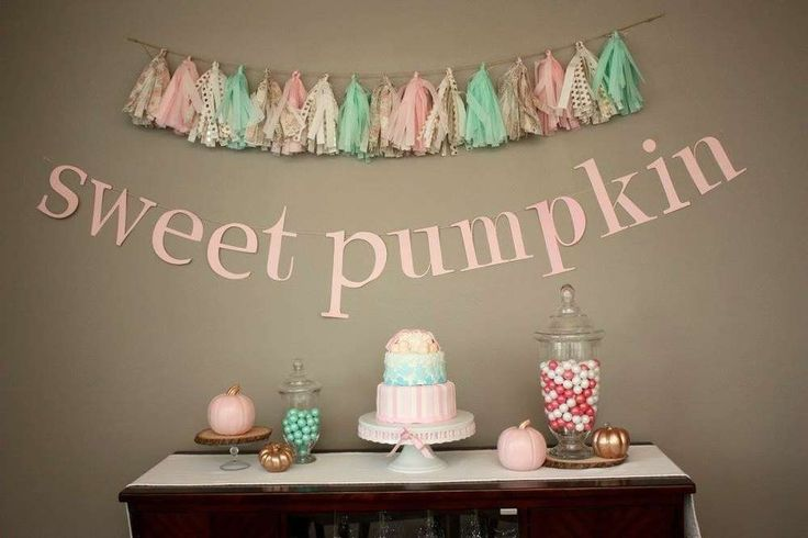 Fall pink pumpkin baby shower party dessert table! See more party planning ideas at CatchMyParty.com!