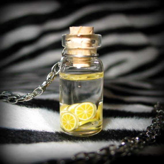 Lemonade Glass Bottle Necklace by dottedwithhearts on Etsy