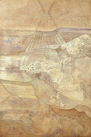 Joshua Yeldham ~ Moon Song (oil and cane on carved board)