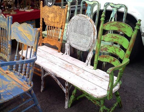 13 Awesome Outdoor Bench Projects, Ideas  Tutorials! • 3 totally different old repurposed chairs make up this wonderful eclectic bench!