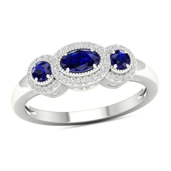 Blue Sapphire And 1 8 Ct T W Diamond Frame Vintage Style Ring In 10k White Gold Vintage Style Rings White Gold Blue Sapphire