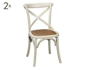 Set di 2 sedie in olmo e rattan jirair bianca - 45x88x42 cm