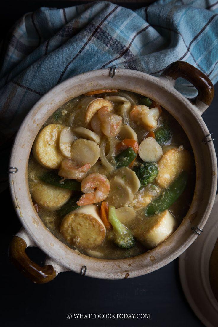 Sapo Tahu Seafood Claypot Egg Tofu And Seafood Claypot Recipes Egg Tofu Cooking Seafood