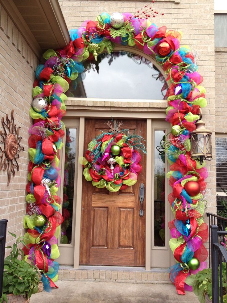 Christmas outdoor door decorations : Best christmas swags and arches images on