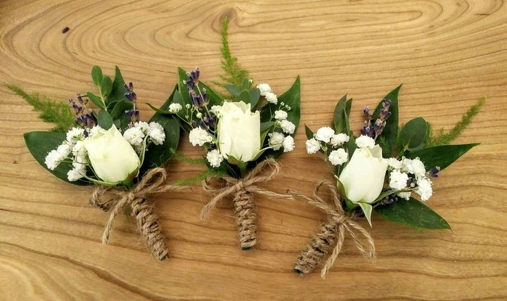 Elegant, rustic, simple boutonnieres  for groomsmen in the wedding party.  Spray roses, lavender, eucalyptus parvifolia, fern, twine...