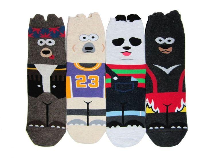 Bear Character Socks 4 Pairs Color Women Kid Cute Sneakers Funny Novelty Animal #GGORANGNAE #Casual #CharacterSocks #women #Kid #Girl #Lady #Funny #Novelty #Pattern