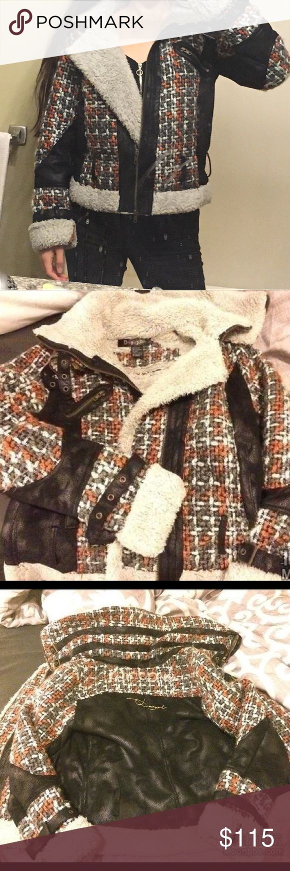 Desigual women's winter jacket faux fur and Suede Super thick and comfy faux fur on the inside of the jacket(including the sleeves!) and Suede on the outside! Super stylish and keep you away from the cold! Great condition, very clean! Desigual Jackets & Coats Puffers