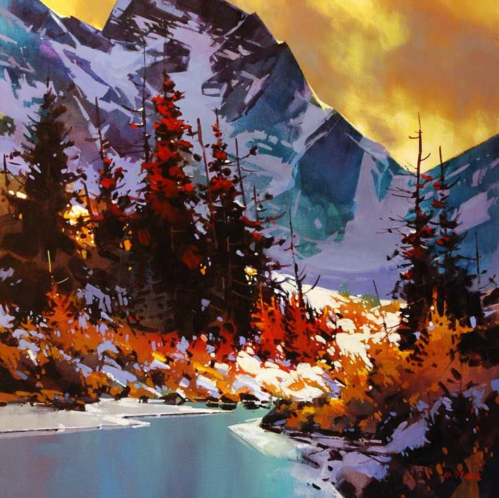 """Alpine Water,"" by Michael O'Toole  36 x 36 - acrylic"