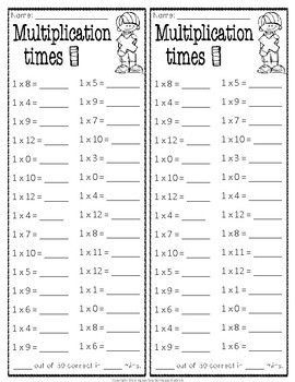 Multiplication Facts Timed Tests x1 thru x12 (w/ Answer