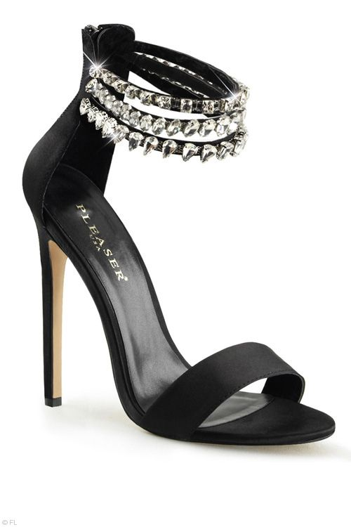"""Pleaser 5"""" Heel Shona Satin Sandal with Rhinestones The sexy Shona Sandal strikes a stunning profile with its narrow 5"""" supportive heel accented with the smooth satin upper and enlightening rhinestone embellished straps. The perfect way to update after dark outfits."""