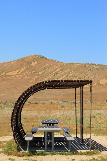 Covered Picnic Tables, Buffalo Point, Antelope Island, Utah | Photograph by D. Sharon Pruitt, PinkStock Photos -- Love this elegantc-shaped take on shade structure design.