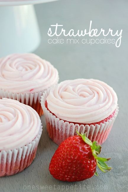 Strawberry Cupcakes (Doctored Cake Mix)