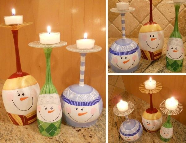 DIY Christmas Snowman Wine Glass Candle Holders - Find Fun Art Projects to Do at Home and Arts and Crafts Ideas
