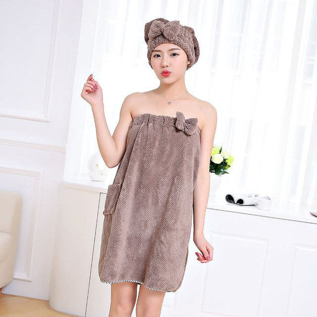 Women/'s Bath Towel Microfiber Spa Beach Bath Shower Wrap Robe Dress CF