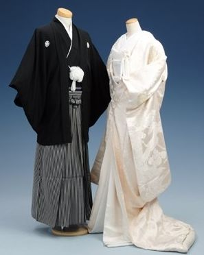 traditional Japanese kimono that a groom and a bride wear in a Japanese style wedding