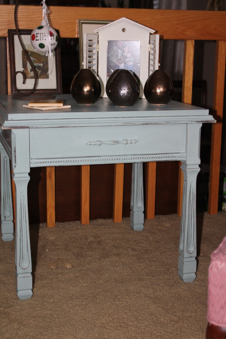 Vintage side table done in ASCP - Duck Egg Blue and clear wax.