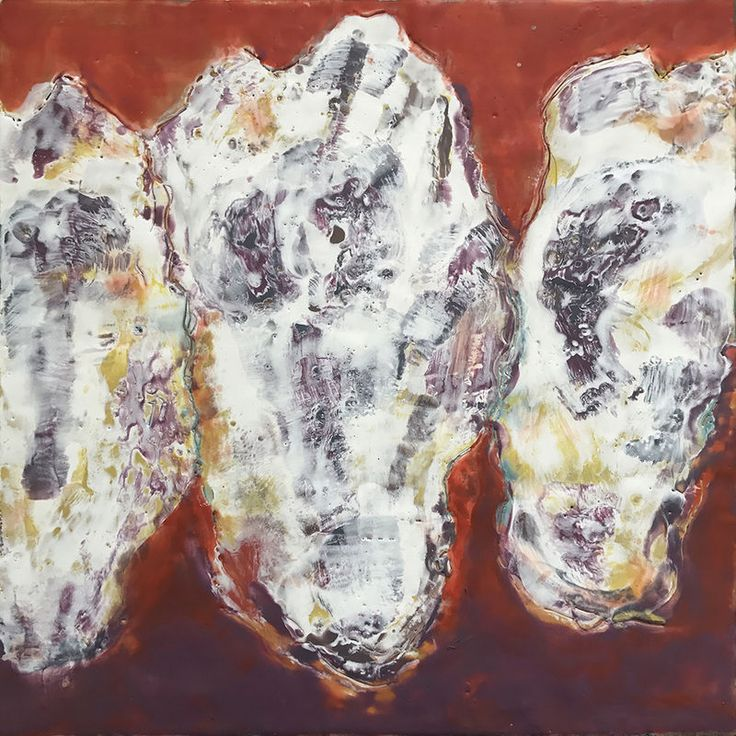 Paintings by Northwest Artist, Joan Stuart Ross, Oyster Trio on Red || Encaustic mixed media with shell on board || 12 x 12 |