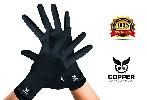 Arthritis Gloves By Copper Compression Gear (Full Finger) 100% GUARANTEED - Relieve Symptoms of Arthritis, RSI, Carpal Tunnel, Swollen Hands, Tendonitis