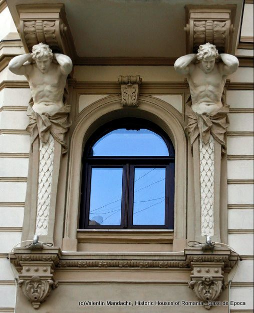Atlantes embellishing a neo-rococo style building dating from the  early 1900s, Smardan Str. area, Lipscani quarter, Bucharest. (©Valentin Mandache)