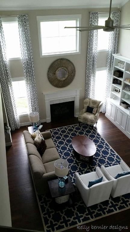 Revere Pewter Living Room, Navy Rug, Custom Window Treatments