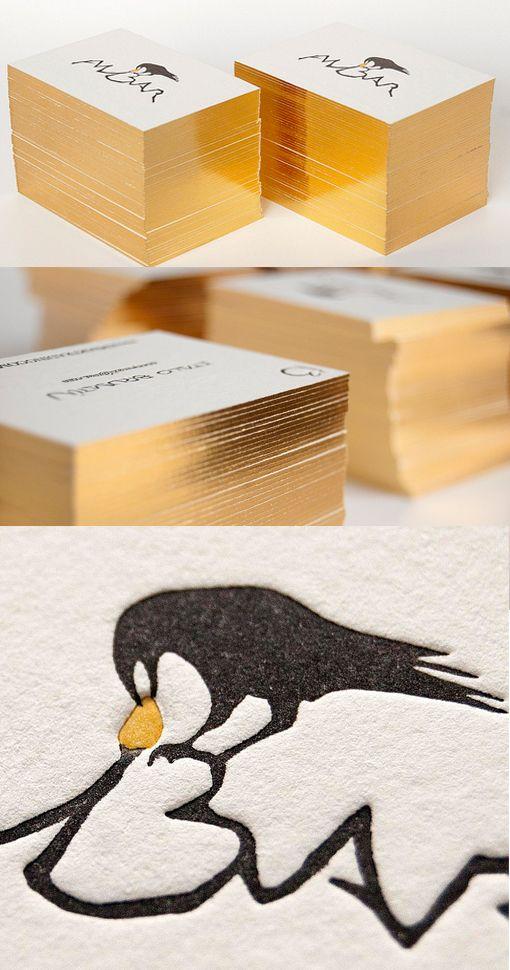 Metallic Edge Painted Letterpress Business Card Design