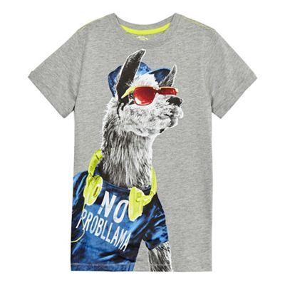bluezoo Boys' grey 'No probllama' short sleeve t-shirt   Debenhams