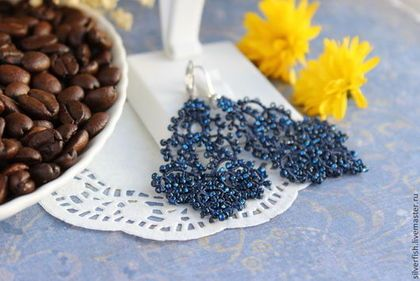 Tatting lace earrings with beads. Kateryna levchenko